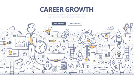 Doodle design style concept of career growth, selecting best candidates, career ladder, corporate opportunities, human resource management. Modern line style illustration for web banners, hero images,  イラスト・ベクター素材