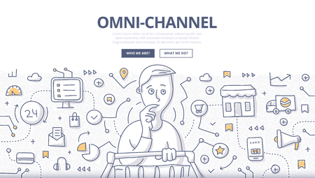 Doodle vector illustration of variety of channels in a customers shopping experience. Concept of multichannel approach to sales for web banners, hero images, printed materials