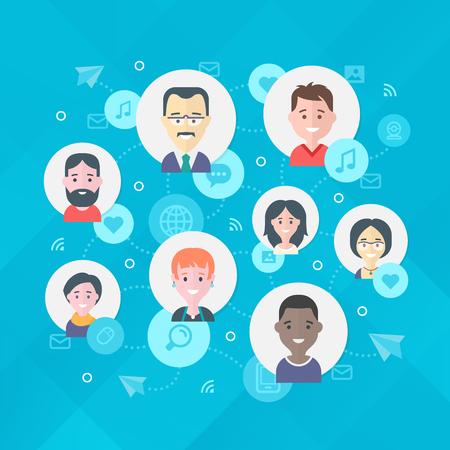 People exchange digital information in the network. Modern flat design illustration concept of online social network