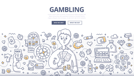 Doodle vector illustration of gambler playing poker cards. Concept of gambling, playing poker, online casino, roulette for web banners, hero images, printed materials
