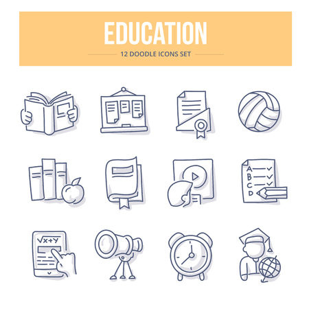 Doodle line icons of school education, training process and study. Vector illustration concepts