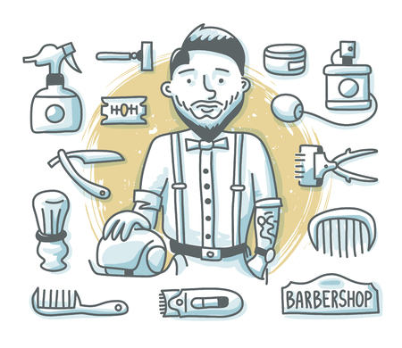 Hair salon concept with fashion bearded hairdresser and barber shop accessories and supplies for web banners, hero images and printed materials. Doodle professions series
