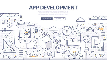 Doodle design style concept of mobile application development, coding, creating new digital product, managing the process of app development. Linear style illustration for web banners, hero images, printed materials