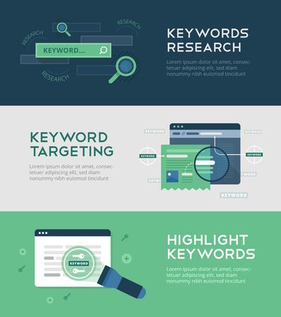Keyword-Management-Banner auf flachem Hintergrund der Keyword-Recherche, Keyword-Targeting. Titel und Beschreibungen anpassen. Webentwicklung und SEO. Suchmaschinenoptimierung, Technologie und Innovation
