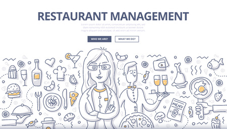 Doodle vector illustration of businesswoman, entrepreneur, owner, manager in restaurant industry. Restaurant management concept with food, cooking, cafe services elements for web banners, hero images, printed materials Illustration