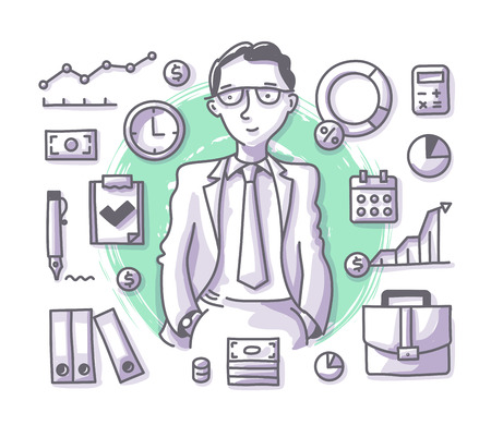 Businessman manager or financial adviser with hands in pockets surrounded business related elements for hero images and printed materials. Doodle professions series