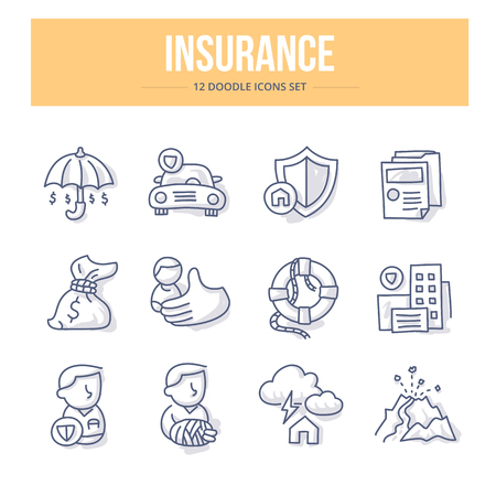 General insurance concepts collection. Life, business risk, home & auto insurance. Themed doodle icons set