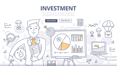 Doodle design style concept of making investments, crowd funding, growing business profit, building effective financial strategy. Modern concepts for web banners, online tutorials, printed and promotional materials