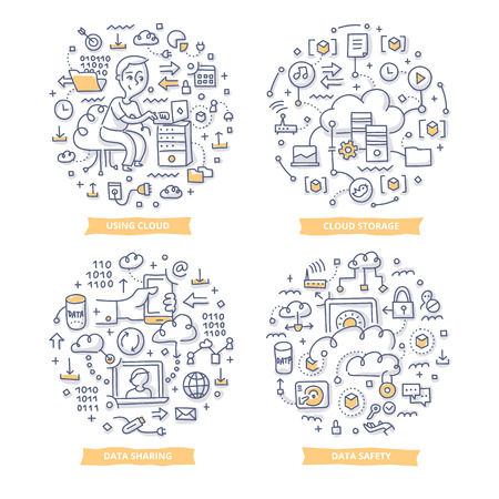 Doodle vector concepts of hosting technologies, cloud computing and online data storing Illustration