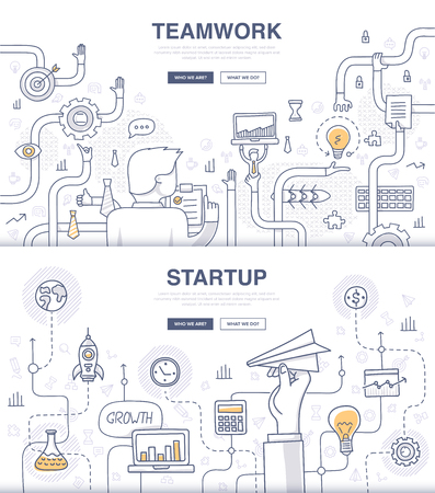 Doodle design style concept of building new business, SEO, teamwork and management, company processes. Modern concepts for web banners and printed materials