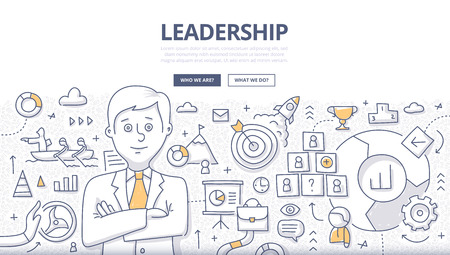 Doodle design style concept of leadership, career opportunities, business strategy vision, developing business mission. Modern line style illustration for landing hero images, web banners, printed materials Illustration