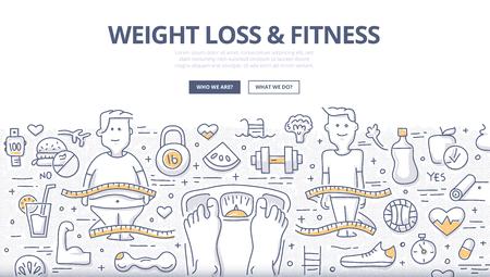 Doodle-Design-Stilkonzept für gesunden Lebensstil, Kontrolle des Körpergewichts, Diät und Fitness. Moderne Linienstilillustration für Webbanner, Heldenbilder, gedruckte Materialien