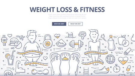 Doodle design style concept of healthy lifestyle, controlling body mass weight, dieting and fitness. Modern line style illustration for web banners, hero images, printed materials Stockfoto - 123321232