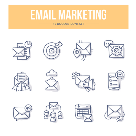 Concept icons of email marketing, ideas & product promotion, modern digital technologies. Themed doodle icons set