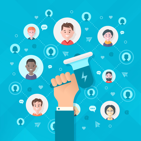 Concept of spreading information from person to person creating the growth in the message's exposure and influence. Modern flat design illustration concept of viral marketing Illustration