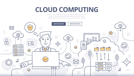 Doodle design style concept of cloud computing technology, web hosting, digital connections. Modern line style concept for web banners, online tutorials, printed and promotional materials