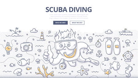 Doodle vector illustration of scuba diving, snorkeling, underwater world and equipment. Concept of undersea adventure for web banners, hero images, printed materials Illustration