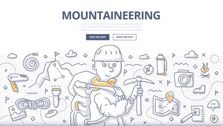 Doodle vector illustration of mountain exploration, climbing adventure, trekking and outdoor recreation. Concept of mountaineering for web banners, hero images, printed materials