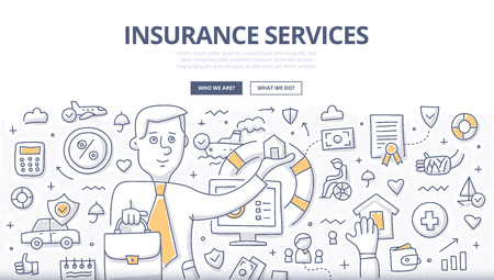 Doodle design style concept of different insurance consulting services. Modern line style illustration for landing hero images, web banners, printed materials