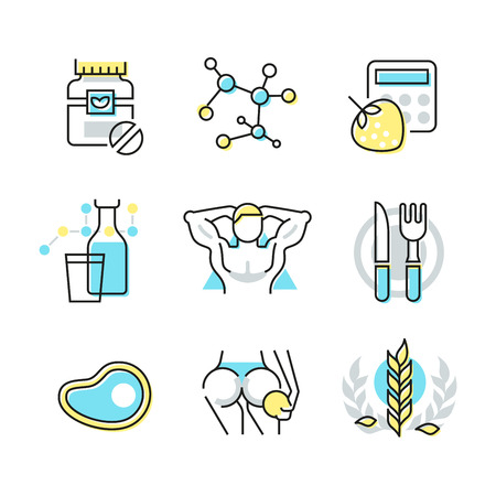 Collection of line icons of fitness and nutrition, eating healthy food, controlling body weight. Modern style illustration pictogram symbol concepts. Linear style design