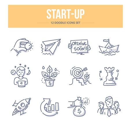 Doodle vector line icons set of business start-up, startup strategy, innovations and setting business goals