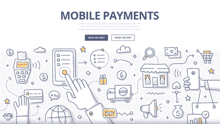Doodle design style illustration of making payments with mobile device. Modern NFC technologies line style concept for web banners, printed materials