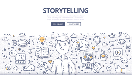 Doodle vector illustration of building social media campaigns around stories, storytelling, producing creative and original ads. Storytelling concept for web banners, hero images, printed materials