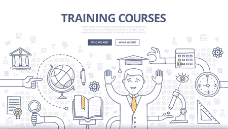 Doodle design style concept of global education, training courses, obtaining specialty, university graduation, building career. Modern concepts for web banners, online tutorials, printed and promotional materials