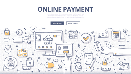 Doodle vector concept illustration of making online payment via internet services. E-commerce concept for web banners, hero images, printed materials