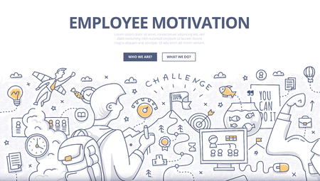Doodle design style concept of employee motivation, success, achieving career goals. Modern line style illustration for web banners, hero images, printed materials