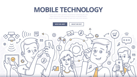 People share digital information with mobile devices. Doodle design style concept of mobile technology, wireless communication. Modern line style illustration for web banners, hero images, printed materials