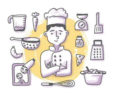 Art of cooking concept with cheerful chef cook and kitchenware for web banners, hero images and printed materials. Doodle professions series