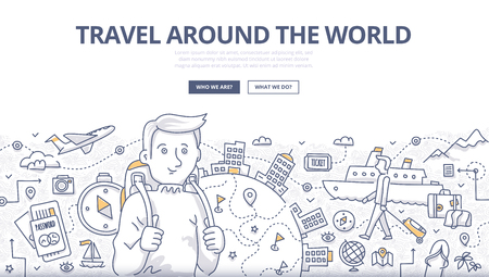 Doodle design style concept of traveling around the world, tourism adventure lifestyle . Modern line style illustration for web banners, hero images, printed materials