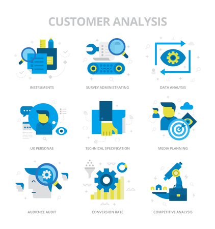 Flat design style vector icons of customer analysis and audience audit. Digital marketing concept icons