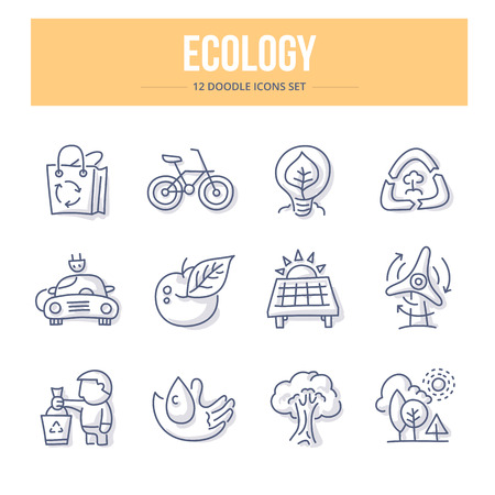 Doodle line icons of ecology, environment protection, green energy efficiency, eco friendly power. Vector illustration concepts Illustration