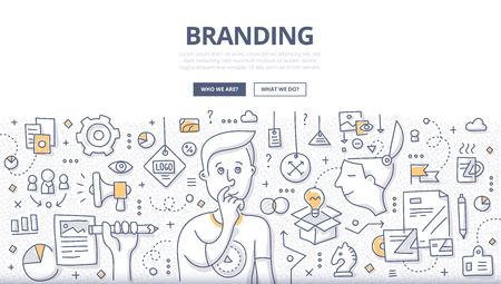 Doodle vector illustration of creating a unique name and image for a product in the consumers mind. Concept of creating company identity for web banners, hero images, printed materials