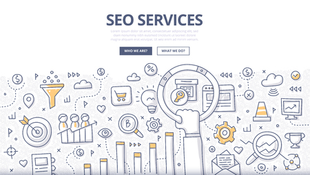 Doodle design style concept of SEO optimization, web marketing, web technologies. Modern line style illustration for landing hero images, web banners, printed materials