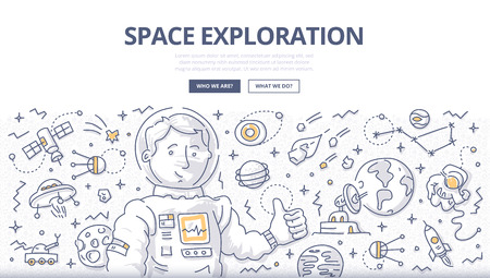 Astronaut surrounded with space related symbols and elements. Doodle vector concept of space mission and exploration for web banners, hero images, printed materials