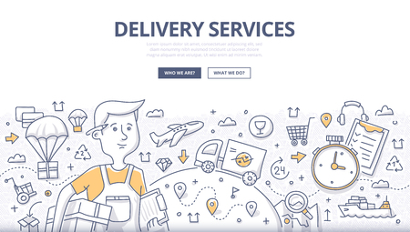 Doodle concept of delivery services, shipping goods by different transport. Modern line style illustration for web banners, hero images, printed materials  イラスト・ベクター素材