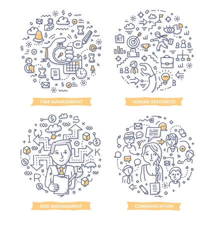Doodle vector illustrations of project management areas: time management, human resources, risk management an communication