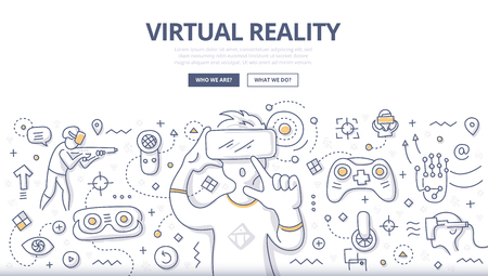 Doodle vector illustration of using computer technology simulate real environment for training, education and gaming. Concept of virtual reality for web banners, hero images, printed materials  イラスト・ベクター素材