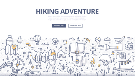 Doodle design style concept of hiking, backpacking trip, trekking in mountains, adventure lifestyle. Modern line style illustration for web banners, hero images, printed materials  イラスト・ベクター素材