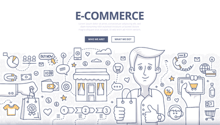 Doodle design style concept of e-commerce sales, online shopping, digital marketing and customer buying experience. Modern line style illustration for web banners, hero images, printed materials