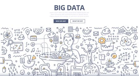 Doodle vector illustration of organizing, storing, sharing and monetizing data from companies and digital media resources. Concept of big data market for web banners, hero images, printed materials Illustration
