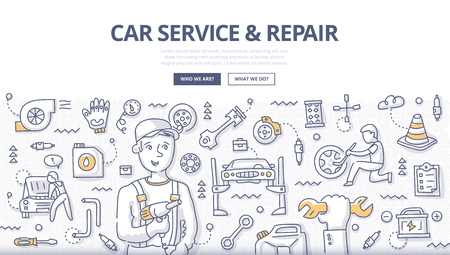 Doodle vector illustration of smiling mechanic working in auto repair. Concept of car and tire service, diagnostics and tuning for web banners, hero images, printed materials