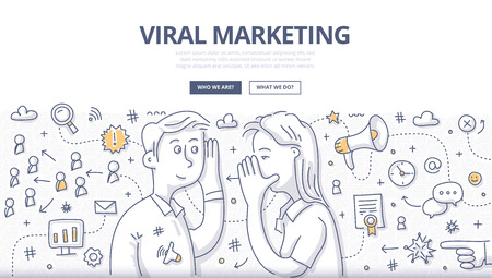 Doodle vector illustration of passing, spreading marketing message about valuable product or service from person to person by internet or e-mail. Network marketing concept for web banners, hero images, printed materials