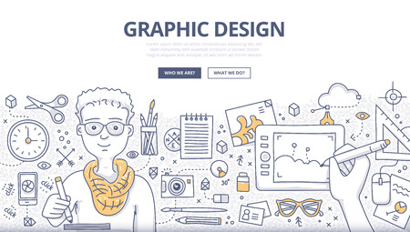 Doodle design style concept of graphic designer at work, surrounded with tools and equipment. Designer uses inspiration and imagination to create things. Modern line style illustration for web banners, hero images, printed materials Illusztráció