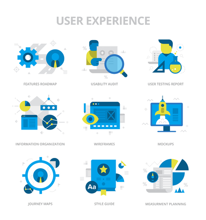 Flat design style vector icons of user experience, information organization, website structure planning. Digital marketing concept icons Illustration