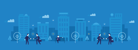 Contemporary business concept of building connections, finding partners, conducting business affairs in modern city environment.  Flat design style illustration for web banners, background, printed an