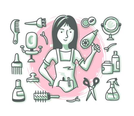 Concept de coiffure avec coiffeuse femme joyeuse et accessoires et fournitures de salon de coiffure pour bannières Web, images de héros et documents imprimés. Série de métiers Doodle Vecteurs